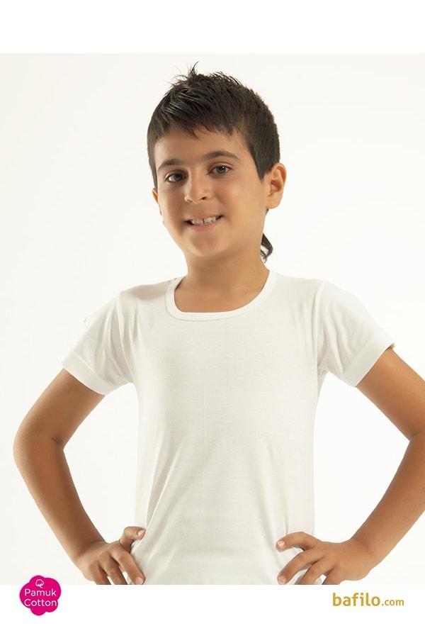 اوزتاش | öztaş - زیرپوش نخی آستین کوتاه پسرانه اوزتاش  A-3002 سفید