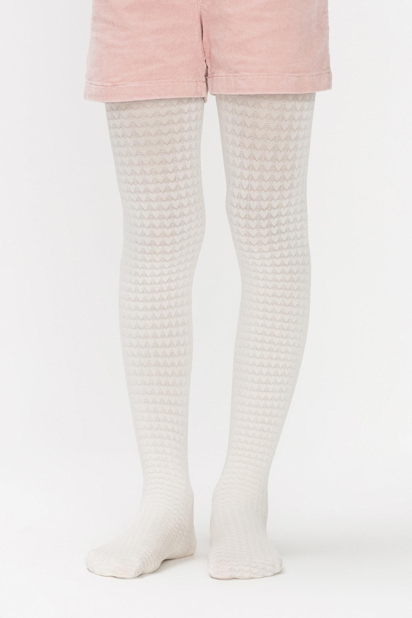 جوراب شلواری دخترانه طرح Amore رنگ وانیلی |