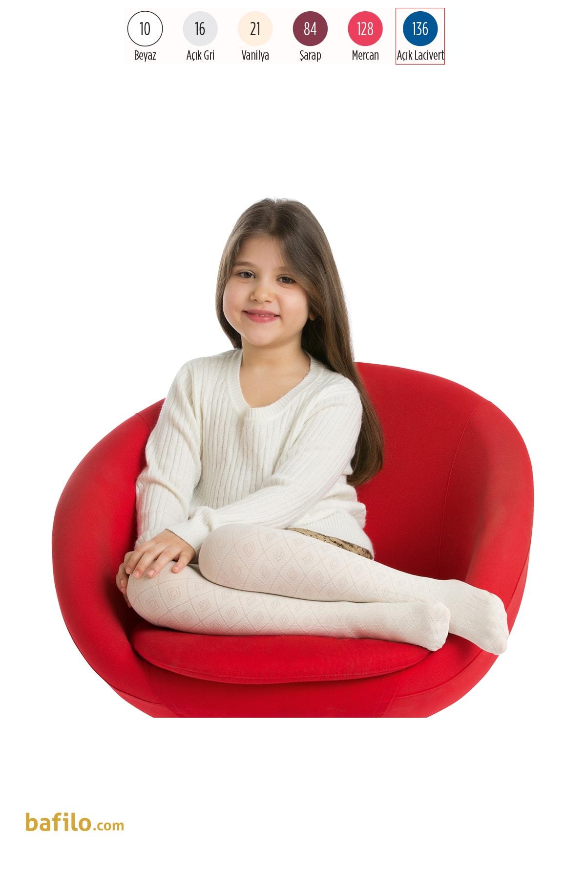 پنتی | Penti - جوراب شلواری دخترانه طرح Dafne رنگ سرمهای روشن