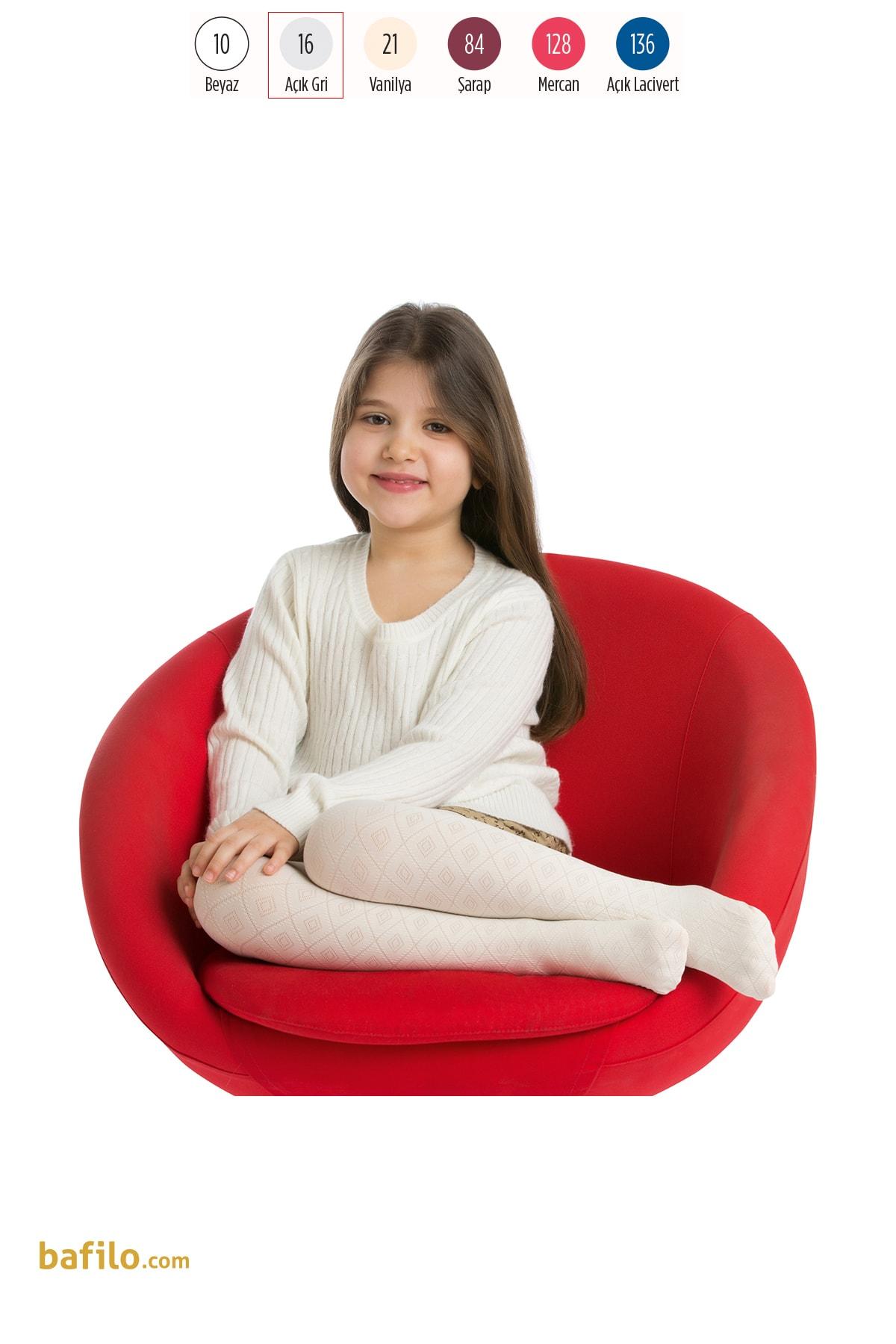 پنتی | Penti - جوراب شلواری دخترانه طرح Dafne رنگ طوسی روشن
