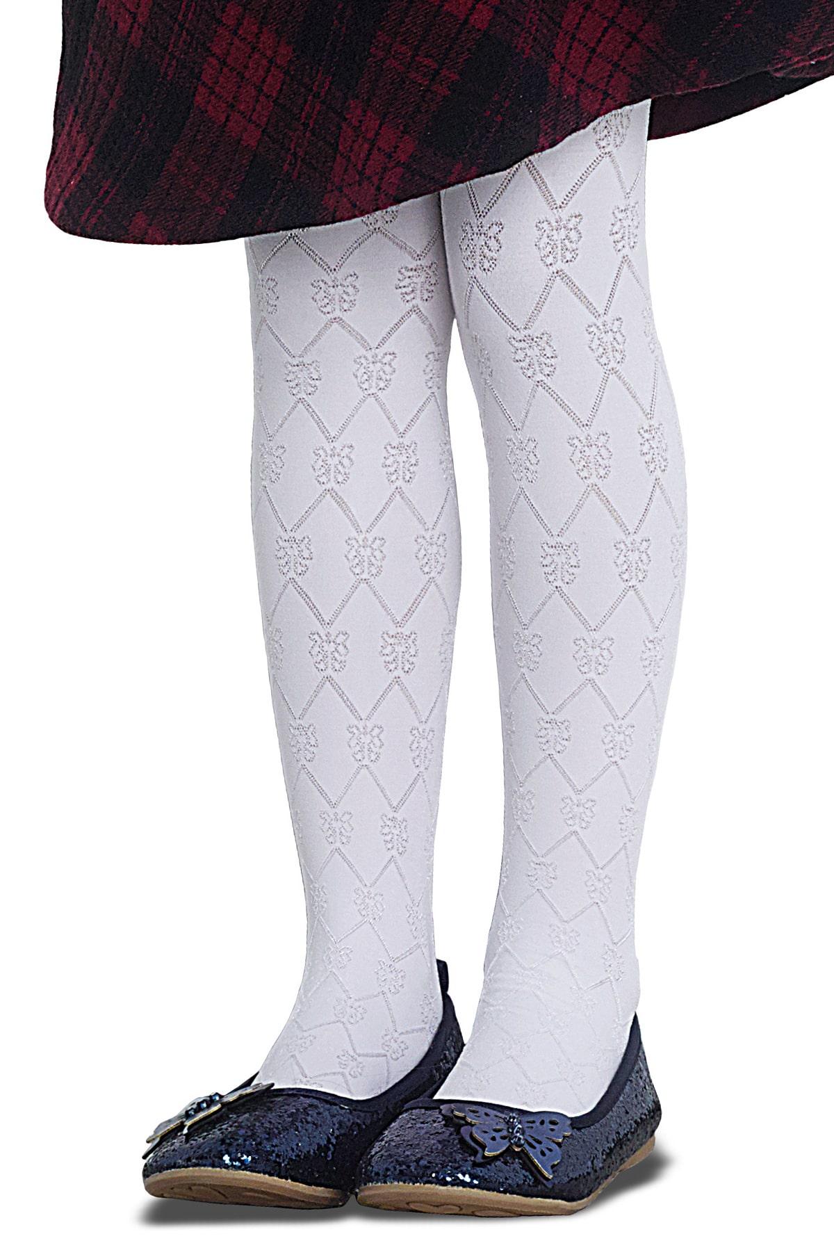 پنتی | Penti - جوراب شلواری دخترانه طرح fabian رنگ سفید