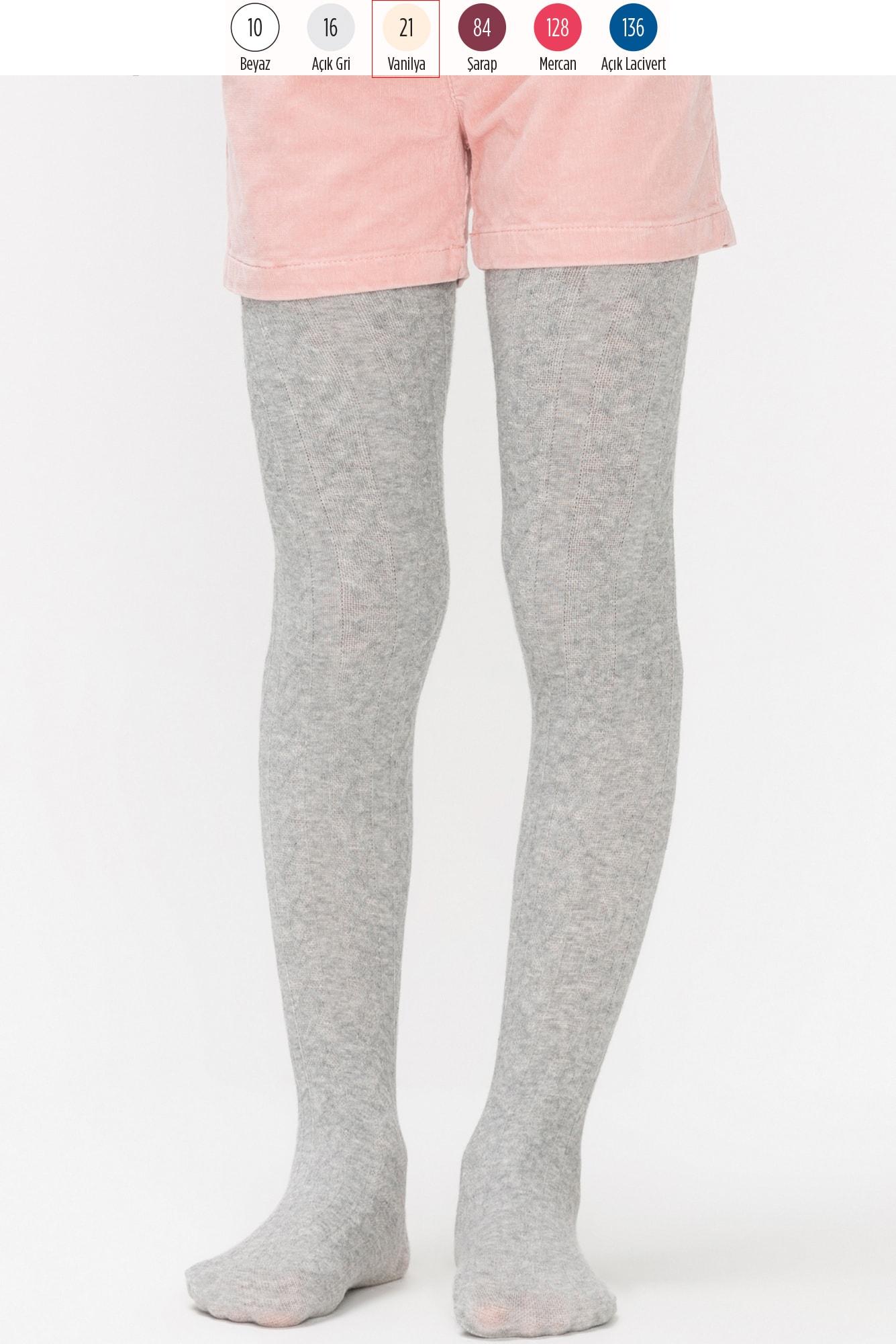 جوراب شلواری دخترانه طرح Karina رنگ وانیلی |