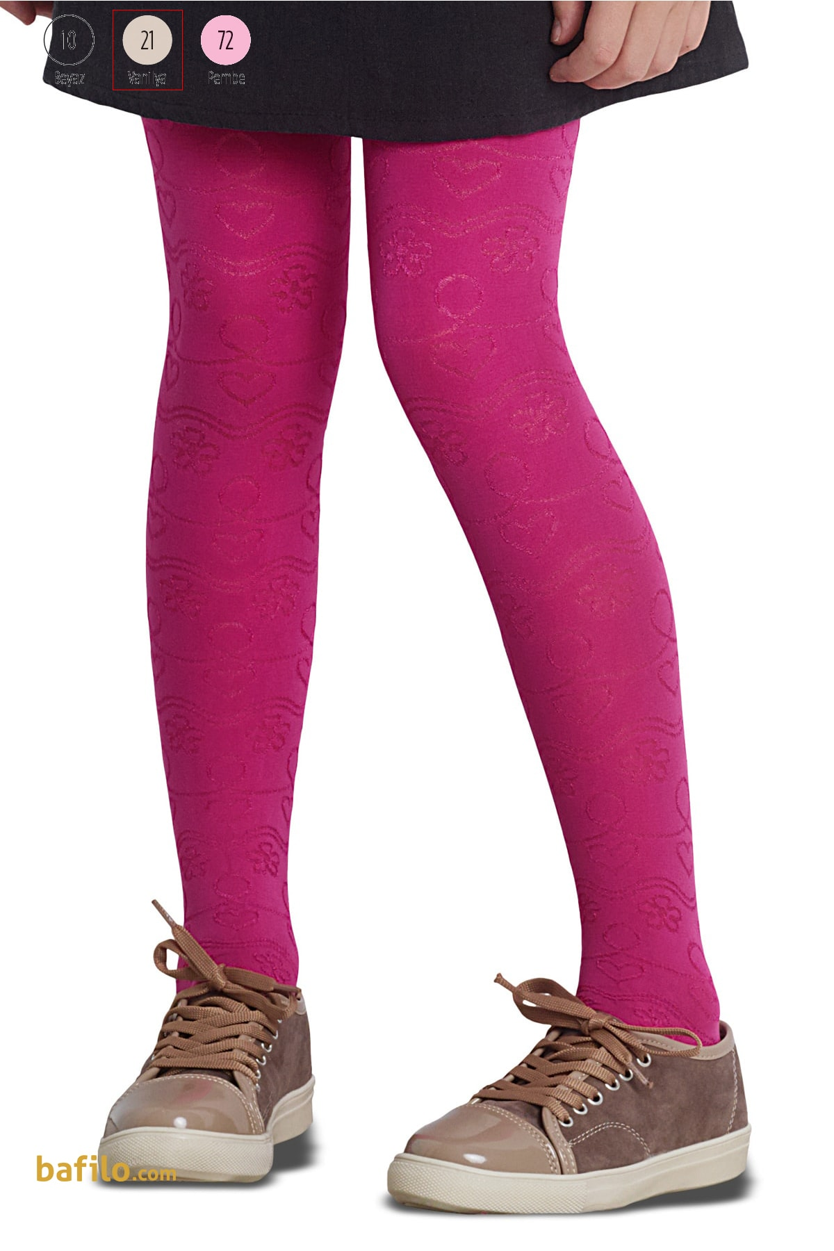 پنتی | Penti - جوراب شلواری دخترانه طرح Lilyum رنگ وانیلی