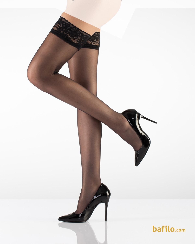 جوراب بالای زانوی زنانه ایتالیانا Dantel 15 مشکی  