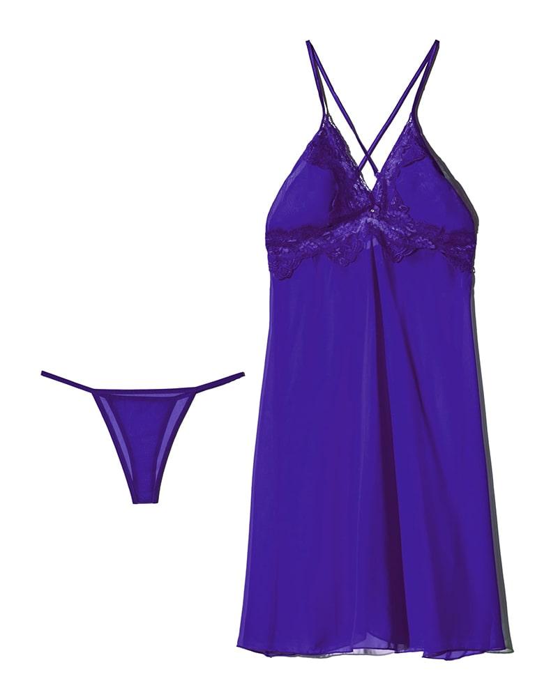 ان بی بی | NBB - لباس خواب زنانه حریر ان بی بی 3246 آبی کاربنی