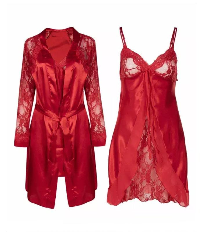ان بی بی | NBB - لباس خواب زنانه حریر دو تکه ان بی بی 3927 قرمز