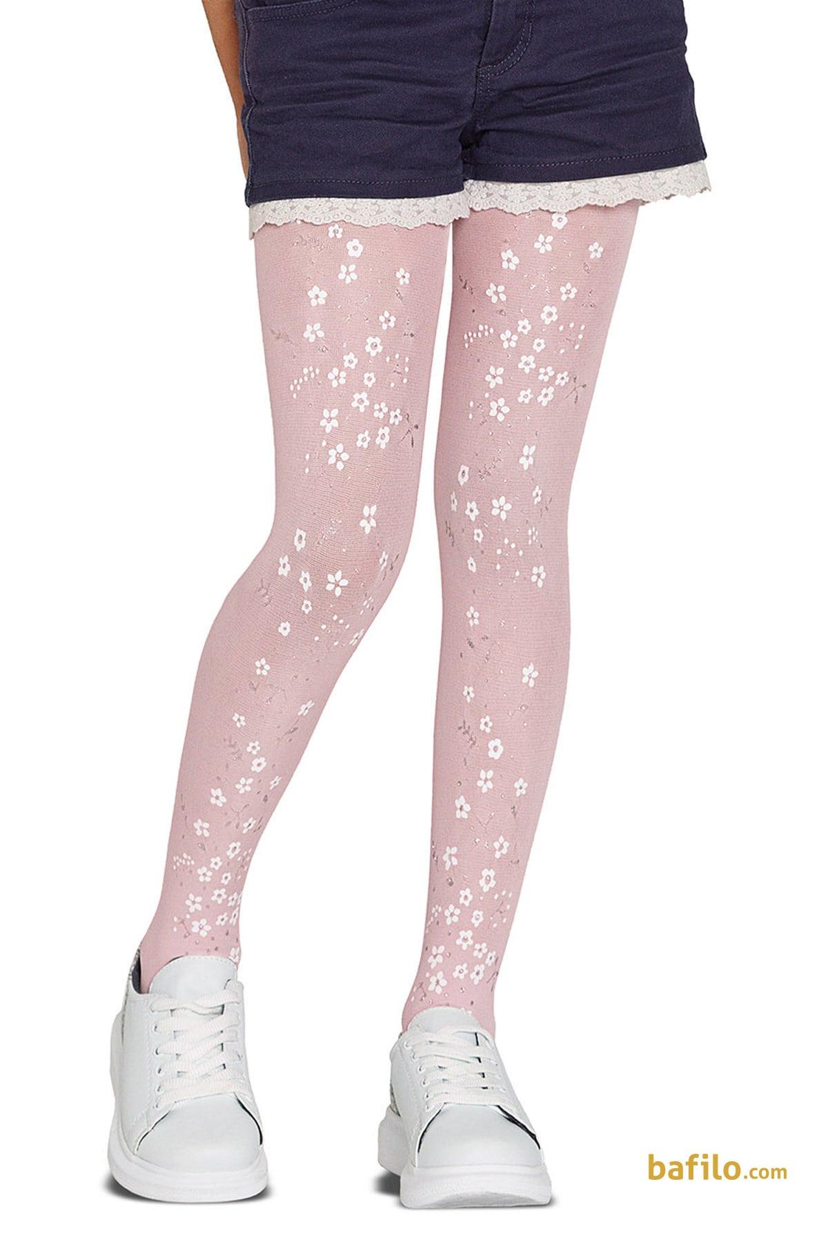 پنتی | Penti - جوراب شلواری طرح دار دخترانه پنتی Bouquet صورتی