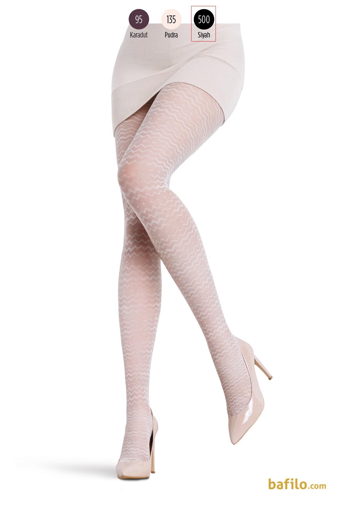 پنتی | Penti - جوراب شلواری طرح دار زنانه پنتی  Cher مشکی
