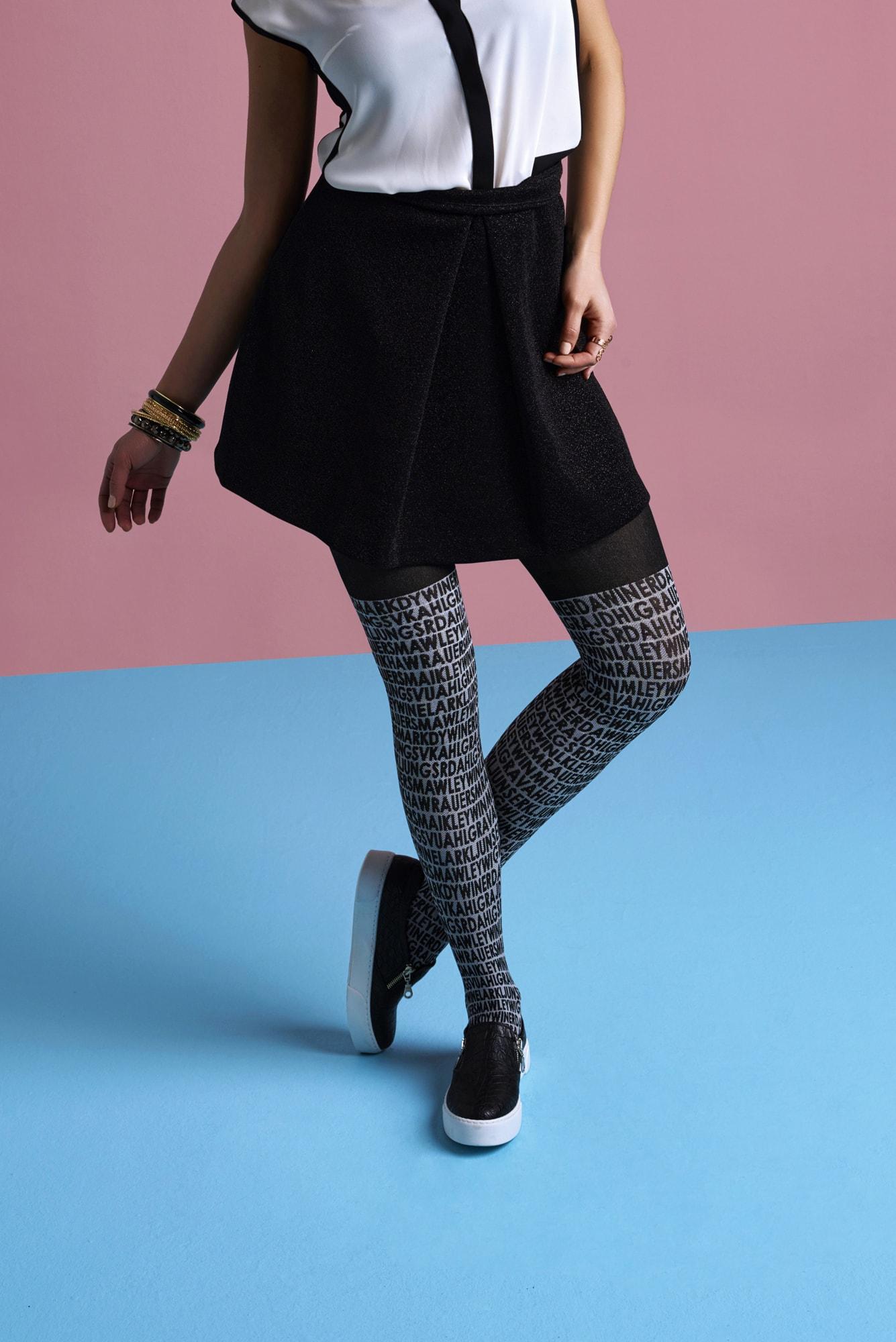 پنتی | Penti - جوراب شلواری طرح دار زنانه پنتی مدل Letter مشکی