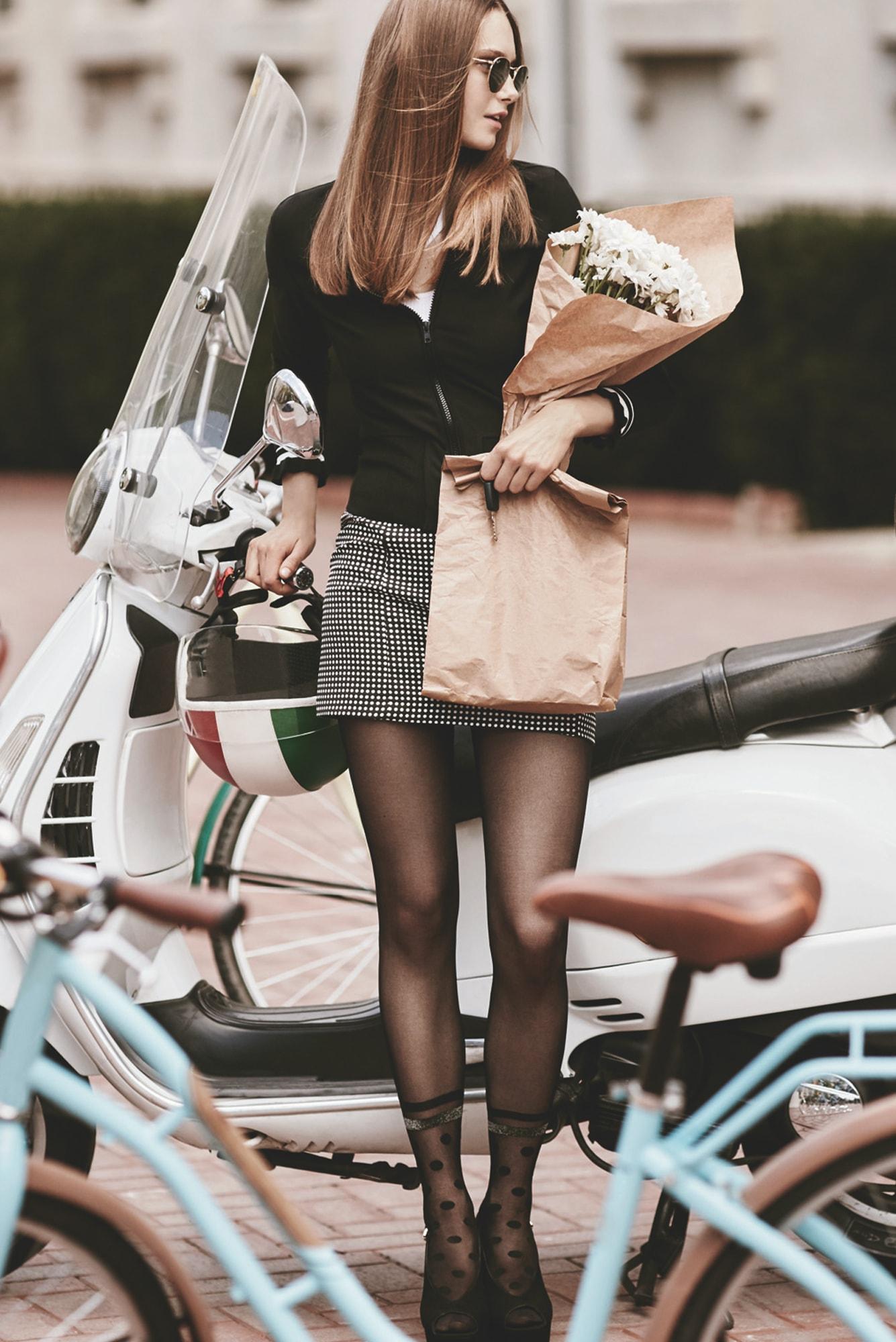 جوراب شلواری طرح دار زنانه پنتی مدل Spoty مشکی |