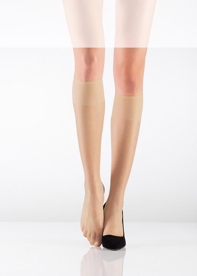 ایتالیانا | ITALIANA - جوراب زیر زانو شیشه ای زنانه ایتالیانا  Fit 15 Burunsuz رنگ بدن صحرا