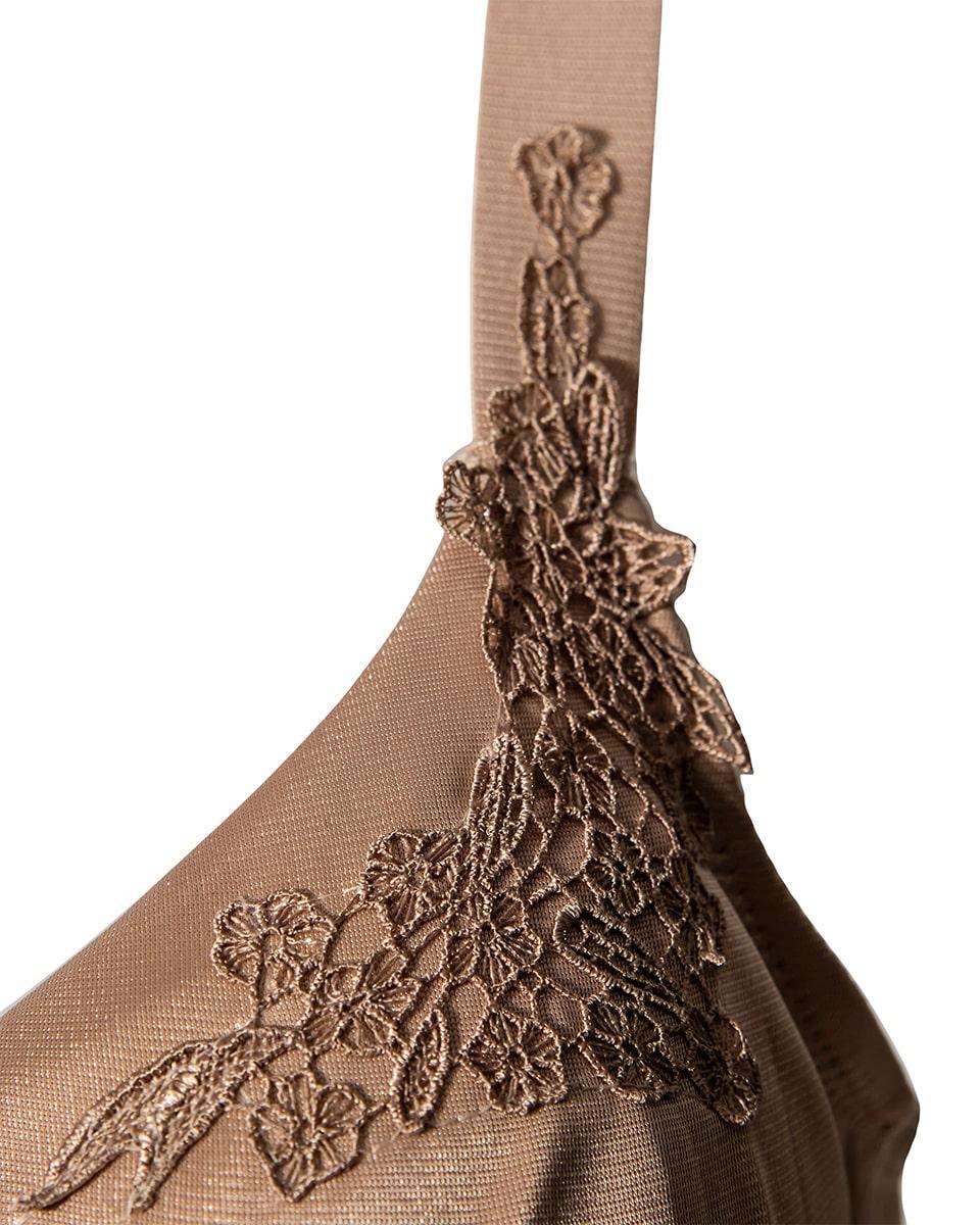 سوتین پارچهای فنردار ینینچی 1655 نسکافه ای گلدار - Thumbnail